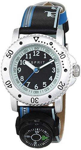 Esprit Jungen-Armbanduhr Savanna Trek Black Analog Quarz Leder ES108334008