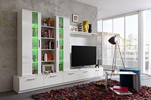 Dreams4Home Wohnkombination 'Palermo', Wohnwand, Anbauwand, Schrankwand, Kombination, Wohnzimmerschrank, Wohnzimmer, (B/H/T) ca. 275 x 180 x 40 cm, in weiß Hochglanz / weiß, Beleuchtung:mit Beleuchtung;Ausführung:mit Glas-TV-Bühne - 5