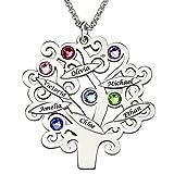 Lebensbaum Namenskette 925 Sterling Silber mit 6/7 Namen und Geburtsstein, Silber/Rosegold/Gold individuelle Kette Baum des Lebens mit Gravur