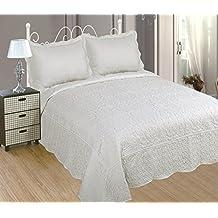 ForenTex - Colcha bouti, (PM-2603), cama 135 cm, 230 x 260cm, + 2 fundas cojines, Blanca, Bordada en relieve, set de cama, ropa de cama. Por cada 2 colchas o mantas paga solo un envío (o colcha y manta), descuento equivalente antes de finalizar la compra.