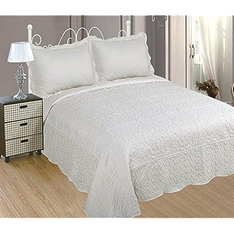 ForenTex - Colcha bouti, (PL-2603), cama 150 cm, 240 x 260cm, + 2 fundas cojines, Blanca, Bordada en relieve, set de cama, ropa de cama. Por cada 2 colchas o mantas paga solo un envío (o colcha y manta), descuento equivalente antes de finalizar la compra.