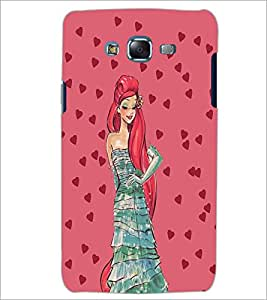 PrintDhaba Girl and Hearts D-2694 Back Case Cover for SAMSUNG GALAXY ON 7 (Multi-Coloured)