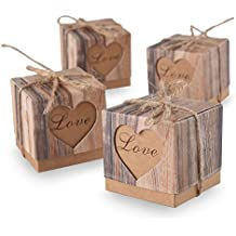 ys2015Candy Cajas Love rústico kraft Bonbonniere con cinta de yute Shabby Chic Vintage–Cordel de boda favor Regalo de corteza de imitación caja de 5cm x 5cm x 5cm) 50Unidades
