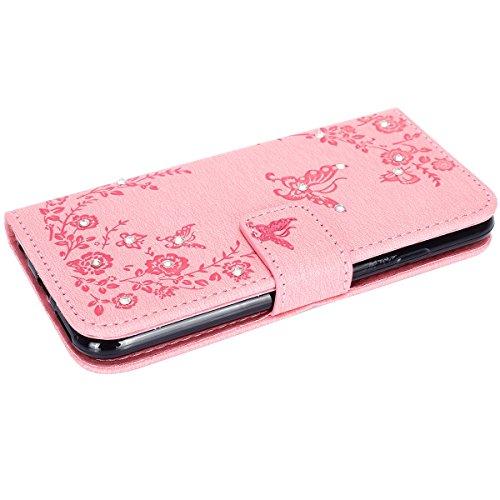 Hülle für iPhone 6S Plus, Tasche für iPhone 6 Plus, Case Cover für iPhone 6 Plus, ISAKEN Glitzer Strass Kristall Blume Schmetterling Muster Folio PU Leder Flip Cover Brieftasche Geldbörse Wallet Case  Absenker Schmetterling Pink