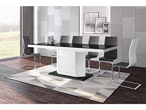 H MEUBLE Table A Manger Design Extensible 160÷256 CM X P : 89 CM X H: 75 CM - Noir/Blanc