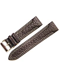 22mm Brown Big Grain Leather Strap for Watch with Dual Cream Stitch & Sloop Padded