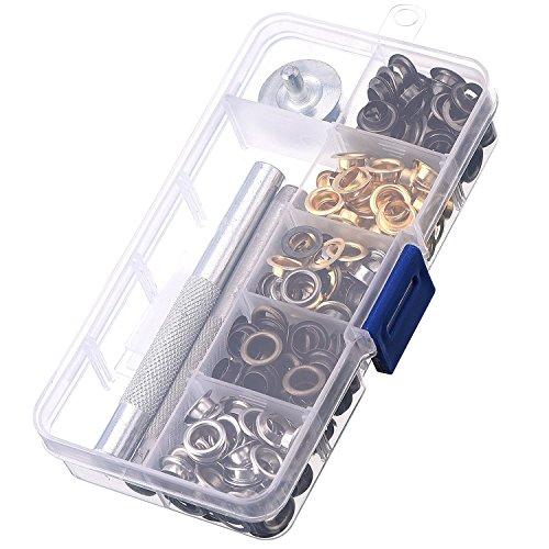 Weddecor-Ösen-Set aus Metall, 4 mm Bronze mit 3 Befestigungswerkzeugen für Lederarbeiten, Kleidungsstückreparatur, Ersatzteil, Heimgebrauch, mit Aufbewahrungsbox, 100 Stück
