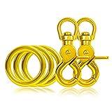 Ganzoo 3 x O - Ring aus Stahl und 2 x Scheren-Karabiner-Haken mit Dreh-Gelenk/Dreh-Kopf im Set, DIY Hunde-Leine/Hunde-Halsband, nichtrostend, Ideal mit Paracord 550, Farbe: gelb