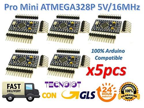 5pcs Pro Mini ATMEGA328P 5V/16MHz Module with Bootloader Pin Header for Arduino | 5pcs Pro Mini ATmega328P 5 V/16mhz Junta de Desarrollo Microcontrolador bootloadered | es idéntica a Arduino Pro Mini Compatible con Arduino IDE con Pin Cabeceras