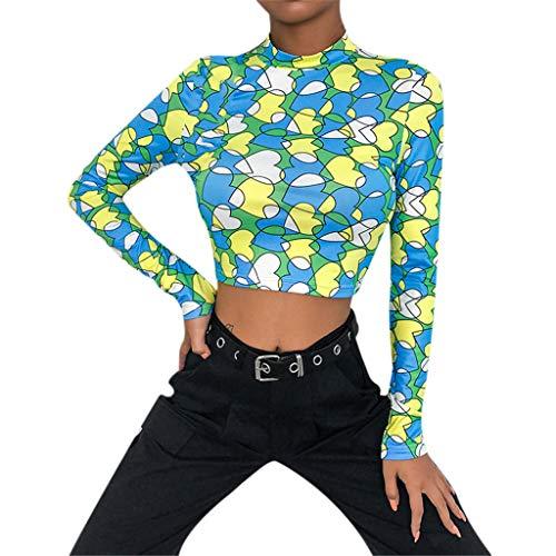 Herzförmiger Tunika Top (Damen Oberteile Elegant Sexy,Damen Bluse Elegant Langarm Casual Crop Tops Oberteil Lose Langarmshirt Herzförmiger Drucken Pullover Tunika Tops Hemd T-Shir)