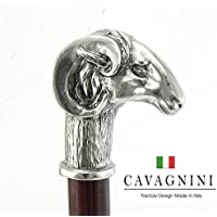 CAVAGNINI Walking Cane Stick Decorations Customizable in Color (Black/Brown), Lenght (until 38 inches), Tip, Engraving. Ram Handle Liberty Pewter Wood Elegance for Ladys or Men. Handmade Italian-style