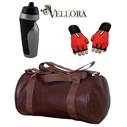VELLORA Soft Leather Duffel Gym Bag (Brown) With Penguin Sport Sipper, Gym Sipper Water Bottle Color Black Grey... - B07F2MQZ6M