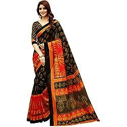 Glory Sarees Women's Bhagalpuri Art Silk Saree(gloryart13_red_black)