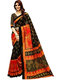 Glory Sarees Women's Bhagalpuri Art Silk Saree(gloryart13_red_black)