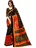 Glory Sarees Art Silk Saree With Blouse Piece (gloryart13_Red and Black_Free Size)