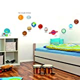 Rawpockets Decals ' The Solar System ' Extra Large Size Wall Sticker ( Wall Coverage Area - Height 45 Cms X Width 120 Cms )(Pack Of 1)