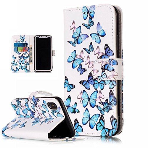 inShang Hülle für iPhone X 5.8 inch mit integriertem Brieftaschen-Design, iPhoneX 5.8inch cover case mit Standfunktion. + inShang Logo hochwertigen Stylus Eingabestift Stift blue butterfly
