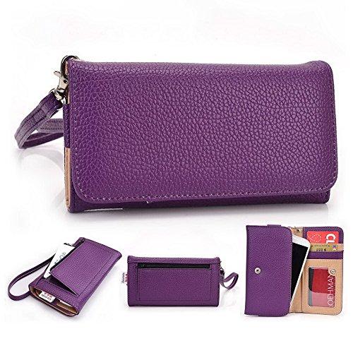 Kroo Pochette Téléphone universel Femme Portefeuille en cuir PU avec dragonne compatible avec ASUS Pegasus/Padfone x Mini Multicolore - Magenta and Black Violet - violet
