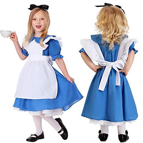 BEESCLOVER Bieranzug Kinder Mädchen Mode Oktoberfest Kellnerin Cosplay Kostüm Bier Festival Anzug wie Gezeigt XL- (130-145)