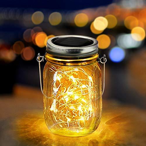 Qomolo Solar Laterne im Einmachglas Jar Led Lichterkette Solar Außen LED Solar Mason Licht Fee Gartenlicht Solar für Garten Party Balkon Weihnachtsferien Urlaub Hochzeit (Warmes Gelbes)