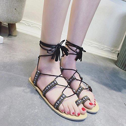 Transer® Damen Sandalen Leinwand Netz Braun Schwarz Quaste Fesselriemen Sommer Stiefel (Bitte achten Sie auf die Größentabelle. Bitte eine Nummer größer bestellen) Schwarz
