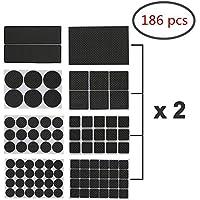 FABSELLER Almohadillas autoadhesivas antideslizantes para muebles, 186 piezas de diferentes tamaños de goma resistente para silla de mesa, patas de fieltro, protectores para suelos de madera