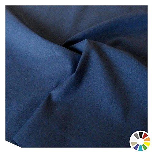 TOLKO Baumwollstoff - feiner weicher Batist als Meterware zum Nähen und Dekorieren - 145cm breit (Dunkel-Blau) Dunkel Blau Stoff