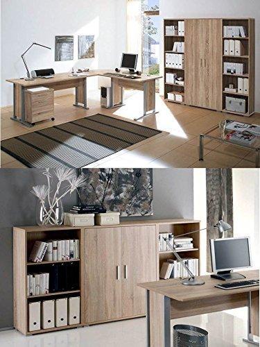 Arbeitszimmer mit Winkelschreibtisch komplett Set Office Line mit Highboard in Eiche Sonoma