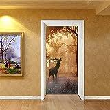 WFYY Tür Aufkleber Delphin Pferd Tiger Dog Deer Dog Wandaufkleber DIY Wandbild Schlafzimmer Wohnkultur PVC Wasserdichte Nachahmung Aufkleber 77X200 cm