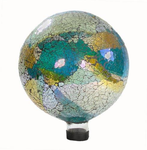 """Northlight Green Iridescent Crackled Glass Mosaic Outdoor Patio Garden Gazing Ball, 10"""""""