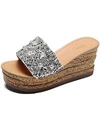 Damen Slip auf Komfort Gewebt Wedge Sandalen Pailletten Open Toe Sommer Outdoor Plateau Sandale