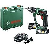 Bosch PSR 18 LI-2 Perceuse-Visseuse sans Fil Ergonomic 2 Batteries 18 V 2,5 Ah, Technologie Syneon