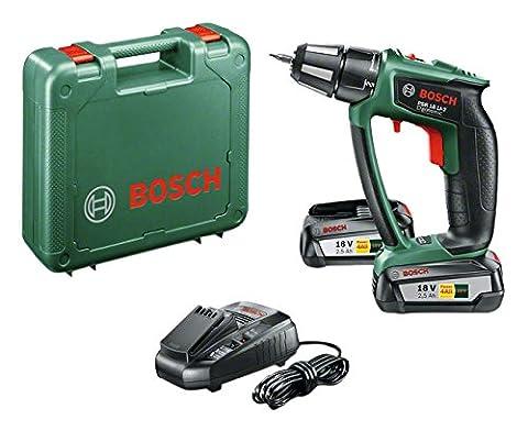 Bosch 18V Akkuschrauber PSR 18 LI-2 Ergonomic mit 2 Akku, Ladegerät, Schrauberbit, Koffer (18 Volt System, 2,5 Ah)