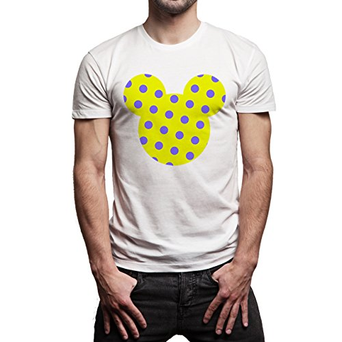Mickey Mouse Disney Dope Icon Swag Colour Dotted Yellow Purpple Herren T-Shirt Weiß