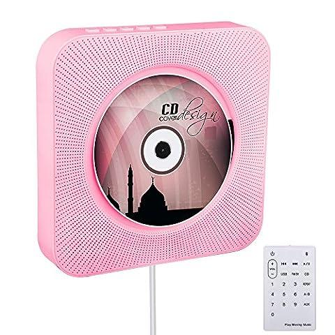 VIFLYKOO CD Lecteur Mural Montable Bluetooth Hi-Fi innovant Pull Switch intégré Built-in CD Lecteur de Musique avec Télécommande USB MP3 3.5MM Prise casque Prise audio AUX entrée Sortie - Rose