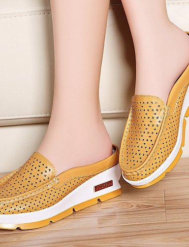 ZQ Scarpe Donna-Mocassini-Ufficio e lavoro / Formale / Casual-Zeppe / Pantofole-Zeppa-Nappa Leather-Giallo / Rosso / Bianco , yellow-us8.5 / eu39 / uk6.5 / cn40 , yellow-us8.5 / eu39 / uk6.5 / cn40 white-us6 / eu36 / uk4 / cn36