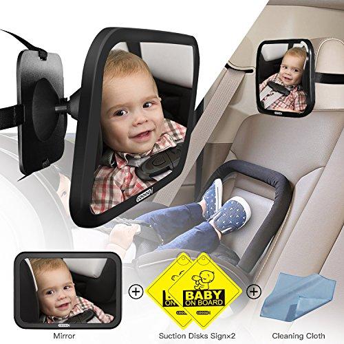 COOODI Specchio auto bambino per sedili posteriori, Specchietto retrovisore per neonati, Nero