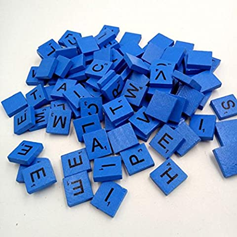Transer Toy for Kids- 100 Pcs Wooden Scrabble Tiles - Alphabets Letters Numbers for Wood Crafts Toy Kid Gift