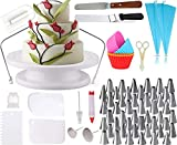 Cake Decorating Supplies Bundled with 5 Silicon Cupcake molds - Complete Kit includes
