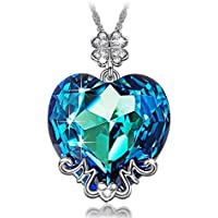 Lady Colour Love You Mom Necklace For Women With Blue Crystals From Swarovski