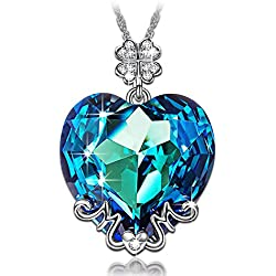 Collar Mama te amo con cristales de SWAROVSKI® corazon azul