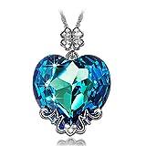 Susan Y Mama te Amo Collar Mujer con Cristales de Swarovski Corazon Azul joyeria Colgante Regalos Cumpleanos Regalos Dia de la Madre Regalos de San Valentin Color Plata