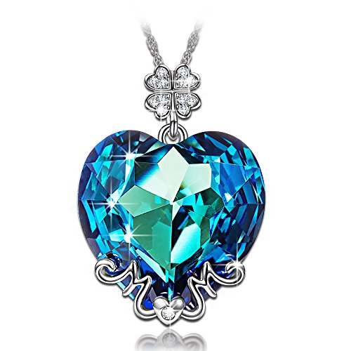 LADY COLOUR Maman je taime Collier Femme cristaux de Swarovski bleu bijoux cadeau anniversaire