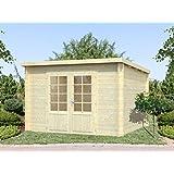 Gartenhaus Pinus P13a naturbelassen - 28 mm Blockbohlenhaus, Grundfläche: 8,70 m², Pultdach