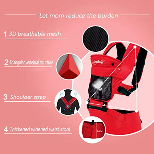 Udxvsdfhd Baby Carrier Baby Sling - Summer Breathable - Versatile Lightweight - Polyester Fiber - Suitable for 4-24 Months - Effective Weight 3.6KG-15KG - One Size - Waist Stool Back Carrier  udxvsdfhd