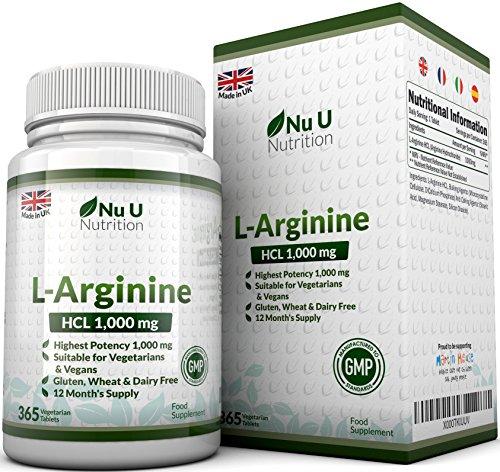 L-Arginine 4000 - 365 comprimés pour Végétariens et Végétaliens, Approvisionnement jusqu'à Une Année de L-Arginine HCL, 1000mg Par Comprimé, Plus Fort Que les Comprimés L-Arginine de nos concurrents - par Nu U Nutrition