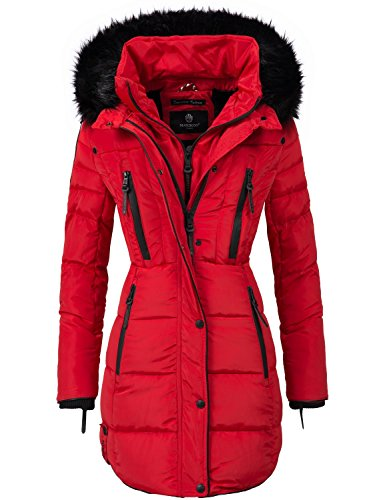 Marikoo Damen Mantel Wintermantel Steppmantel Moonshine (vegan hergestellt) Rot Gr. XXL (Echter Pelz-jacken)