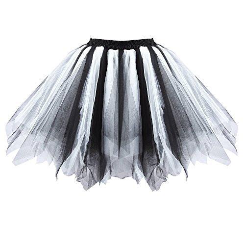 Honeystore Damen's Tutu Unterkleid Rock Abschlussball Abend Gelegenheit Zubehör Schwarz und Weiß A520626120110 (Zebra Tutu Kostüm Kind)