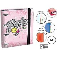 Carpeta Equipada REPLAY Girls Rosa, Din-A4 4 Anillas 35 mm.