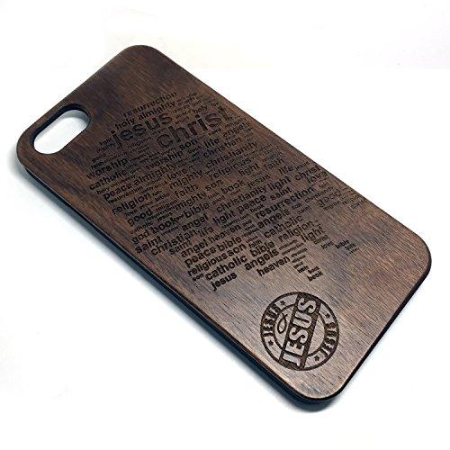 Coque Apple iPhone 7 , Coque pour iPhone 7 Bois Véritable + PC Bumper Dur Hard Housse Etui Hybride en Bois Naturel Sculpté Wood Case Cover de Protection pour iPhone 7 Walnut-Jesus
